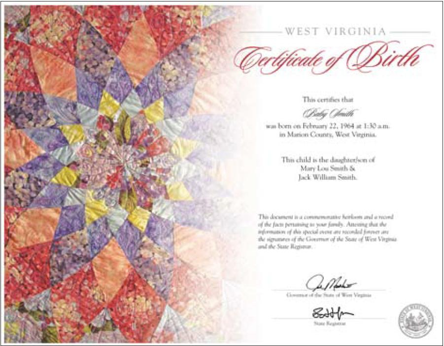 The West Virginia Heirloom Birth Certificate